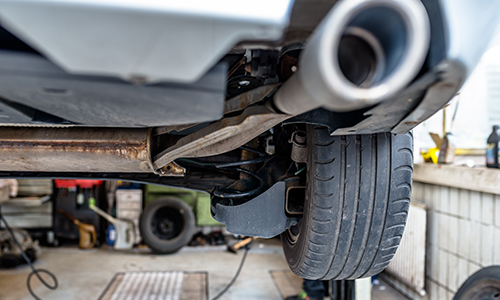 exhaust pipe of a car